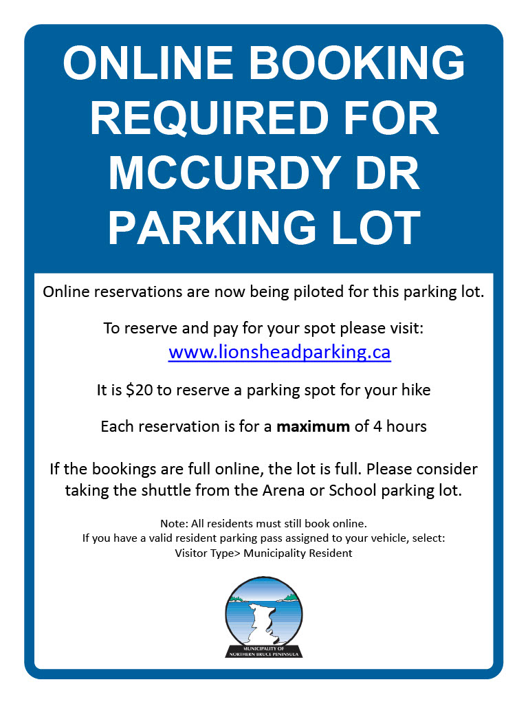 Notice Banner for McCurdy Parking Lot Reservation Requirements