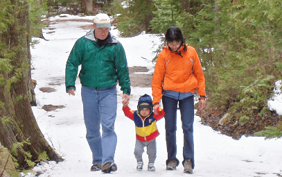 Happy Family on a snowy trail